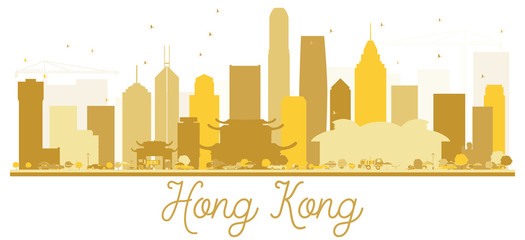 Hong Kong City skyline golden silhouette.