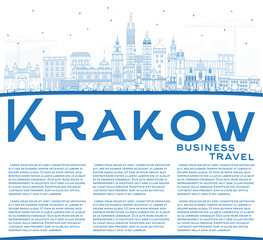 Outline Krakow Poland City Skyline with Blue Buildings and Copy Space.