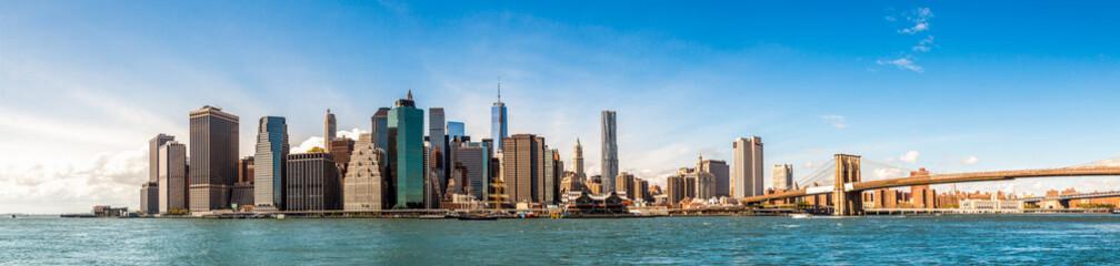 New York City Skyline, Manhattan and Brooklyn bridge view