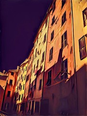 Old colorful Italian houses. Big size oil painting pictorial art. Modern impressionism drawing artwork. Creative artistic print for canvas or textile. Wallpaper, poster or postcard design.