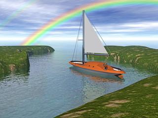 Segelboot im Wasser