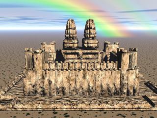 Sandburg unter Regenbogen