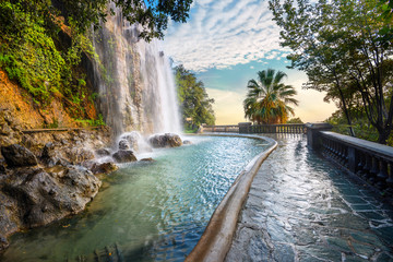 Waterfall in Parc de la Colline du Chateau. Nice, Cote d'Azur, France