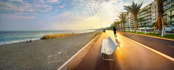 Foto auf Acrylglas Nice Promenade des Anglais in Nice at sunset. Cote d'Azur, French riviera, France