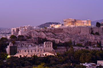Keuken foto achterwand Bedehuis Athens. Panoramic view of the Acropolis from Philapoppos Hill. Sunset, Attica, Greece