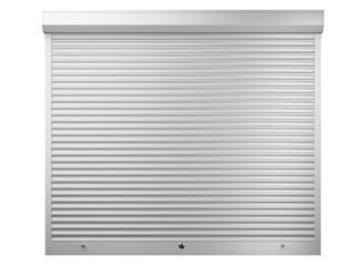 Big white metal closed roller shutter. Front view - garage door.