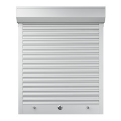 White metal closed roller shutter. Front view.