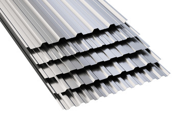 Metal corrugated roof sheets stack.