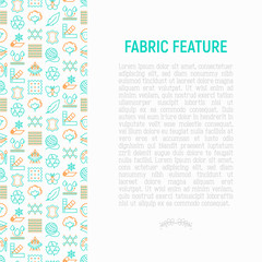 Fabric feature concept with thin line icons: leather, textile, cotton, wool, waterproof, acrylic, silk, eco-friendly material, breathable material. Modern vector illustration for banner, print media.