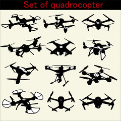 Set of quadrocopter on white background