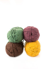 skeins, bolls,   for knitting multicolored on white background