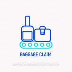 Baggage claim thin line icon. Modern vector illustration.