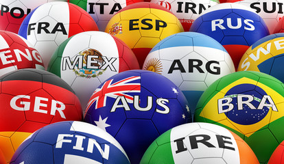 soccer balls colored in different national flag colors - 3D rendering