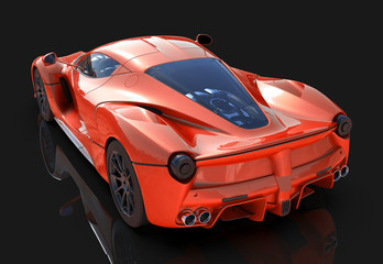 Sports car. The image of a sports red car on a black background. 3d illustration.