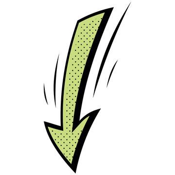 Comic book element. Cartoon green arrow. Vector icon.