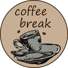 Coffee break round card with cup.