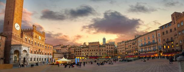 Siena. Piazza del Campo at sunset. Tuscany, Italy Wall mural