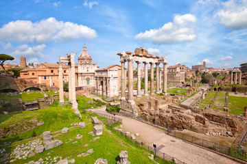 Roman Forum ancient ruins in Rome, Italy