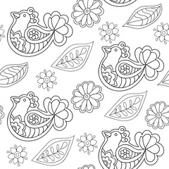 Seamless vector ethnic tribal pattern with birds and flowers. Black and white fabric design