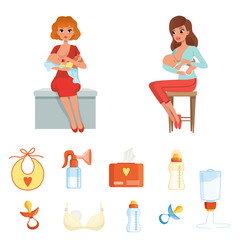 Set of colorful items related to breastfeeding theme. Two young mothers feeding their newborn babies. Flat vector icons