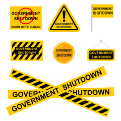 Government shutdown sign. Vector set of black-and-yellow flags, icons, ribbons, stickers isolated on white background.