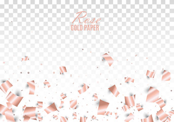 Rose gold foil paper confetti scatter on transparent background. Festive vector illustration. All isolated and layered