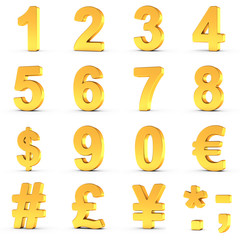 Numbers Set in Gold with clipping path for each object