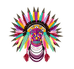 Indian skull icon with feathers colorful vector illustration