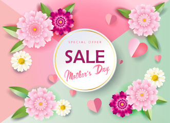 Sale banners set for Mother's Day gift cards, special offer, discount flyers, web, Spring Holiday floral decoration, origami, paper cut texture, vector fashion, typography
