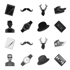 Hipster, fashion, style, subculture .Hipster style set collection icons in black,monochrome style vector symbol stock illustration web.