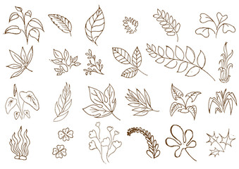 Hand sketched vector vintage elements.Wild and free. Perfect for invitations, greeting cards, quotes, blogs, Wedding Frames, posters.silhouette of elements