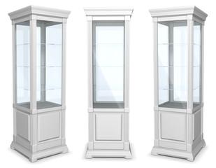White cabinet showcase. Set of 3d illustrations isolated on white.