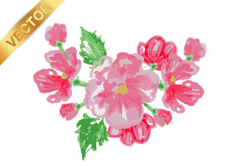 beautiful flower frame vector.Greeting card with flowers, watercolor, can be used as invitation card for wedding, birthday and other holiday and summer background. Watercolor imitation