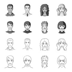 Different looks of young people.Avatar and face set collection icons in outline,monochrome style vector symbol stock illustration web.