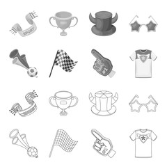 Pipe, uniform and other attributes of the fans.Fans set collection icons in outline,monochrome style vector symbol stock illustration web.