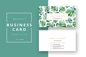 Trendy minimal abstract business card template. Modern corporate stationery id layout with monstera leaves. Vector fashion green background design with information sample name text.
