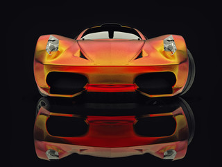 Racing concept car. Image of a car on a black glossy background. 3d rendering.