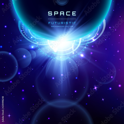 Planet Earth With Sunrise In Space Futuristic Vector Background