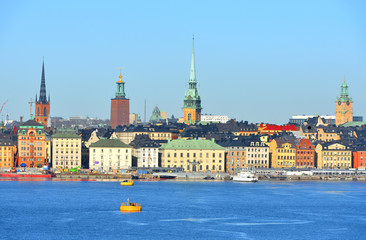 Stockholm, Sweden. View of Old town (Gamla stan) from sea