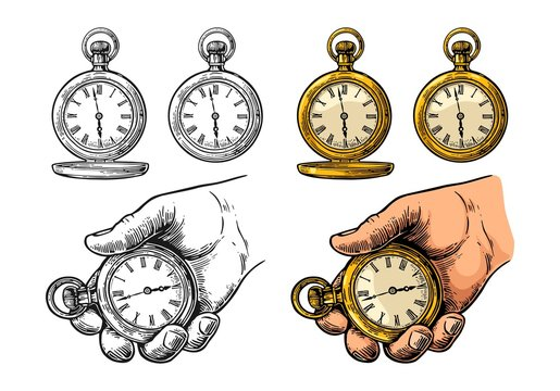 Antique pocket watch. Vector vintage color engraving isolated on white