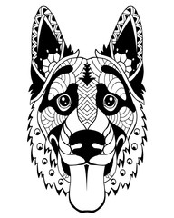 German Shepherd dog zentangle stylized. Freehand vector illustration