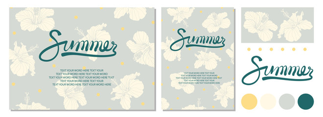 Poster design for Summer with calligraphy, dots and hibiscus on pastel background.