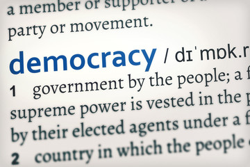 democracy blue word, focus on the concept (this version is in a different color)