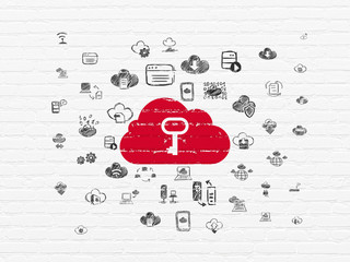 Cloud computing concept: Painted red Cloud With Key icon on White Brick wall background with  Hand Drawn Cloud Technology Icons