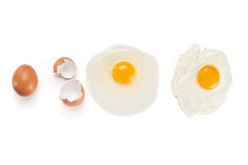 Different condition of egg: raw, broken and fried