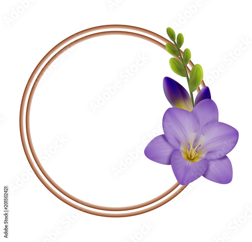 Realistic Violet Freesia The Symbol Of Love And Trust Circle Frame