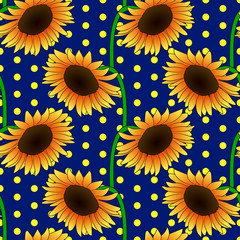 Vector illustration, bright seamless floral pattern in vintage style, beautiful cartoon orange sunflower flowers on blue dotted background