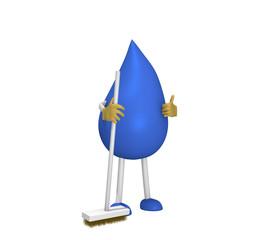 3d Figur in Form eines Tropfens mit einem Besen. 3d rendering
