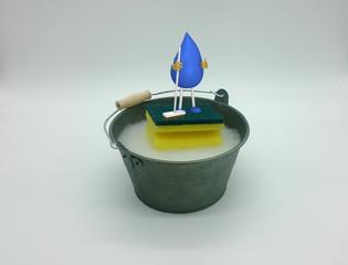 Foto von Eimer mit Wasser und Putzschwamm kombiniert mit 3d Charakter eines Tropfenmännchens mit Besen. 3d illustration