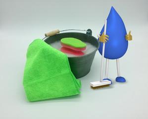 Foto von Eimer mit Wasser und Putzschwamm. Daneben steht ein 3d Charakter eines Tropfenmännchens mit Besen. 3d illustration